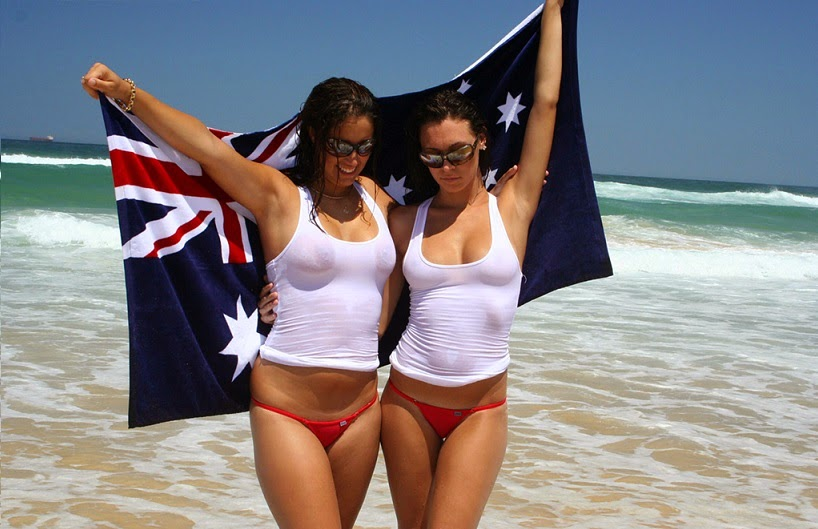 Happy Australia Day celebration by girls on the beach
